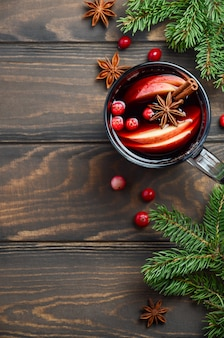 Christmas mulled wine with apple and cranberries