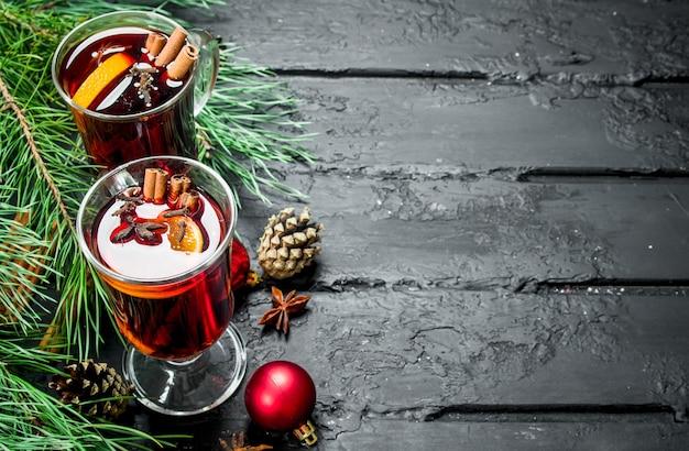크리스마스 mulled 와인 향신료. 블랙 소박한.