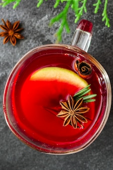 Christmas mulled wine on a wooden table