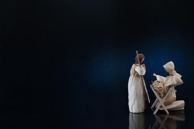 3人の賢者が赤ん坊のイエス、メアリー・ジョセフのクリスマスカードに贈り物を贈るクリスマスのキリスト降誕のシーン