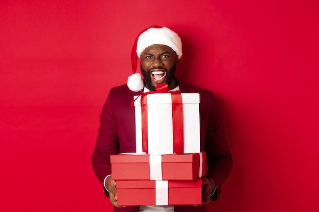 クリスマス、新年、ショッピングのコンセプト。