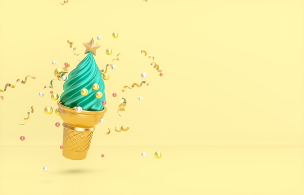 Christmas and new year background with christmas tree on ice cream cone.
