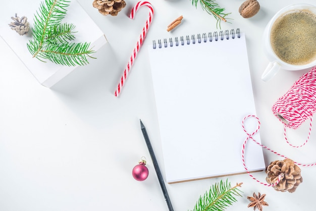 Christmas and new year background with empty notepad
