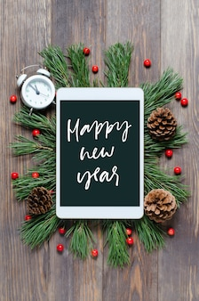 Christmas or new year background on a wooden background