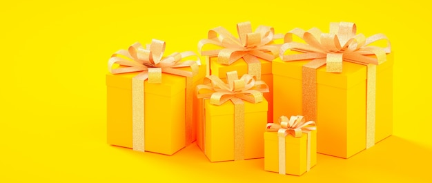 Christmas, new year, birthday yellow golden present boxes 3d rendering illustration