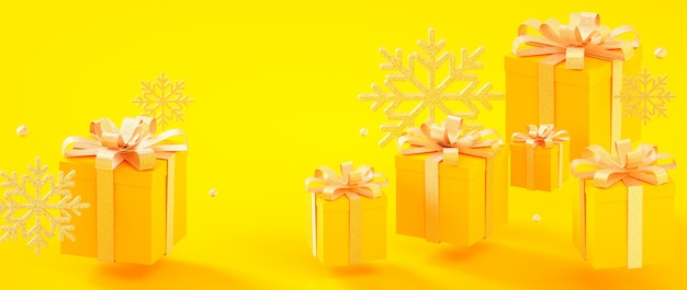 Christmas, new year, birthday yellow golden present boxes and snowflakes 3d rendering illustration