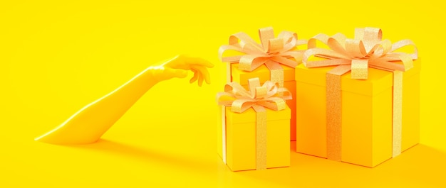 Christmas, new year, birthday yellow golden present boxes with hand 3d rendering illustration