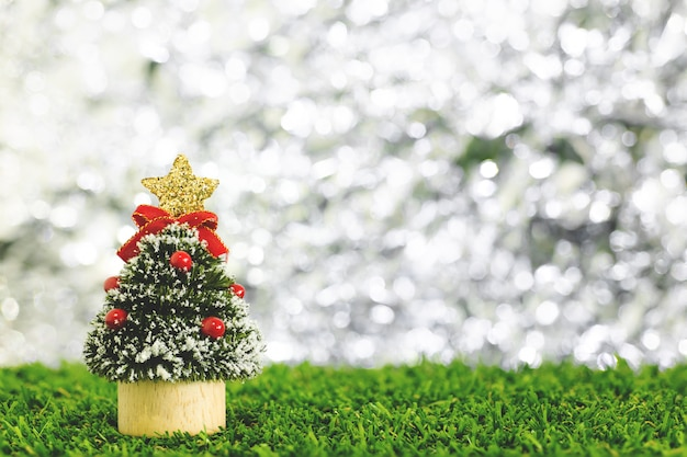 Christmas new year celebrate background with little christmas tree