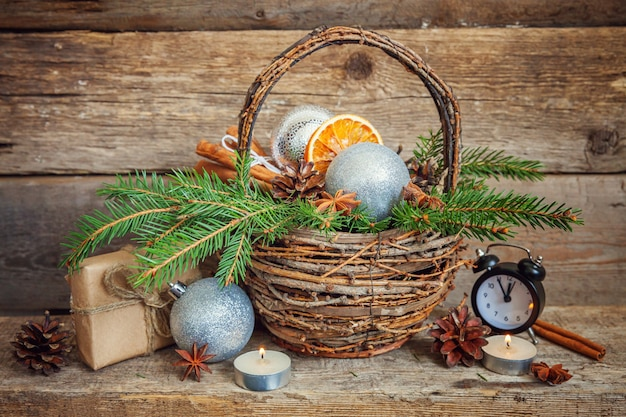 Christmas new year composition on old shabby rustic wooden background