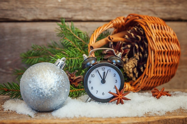 Christmas new year composition on old shabby rustic wooden