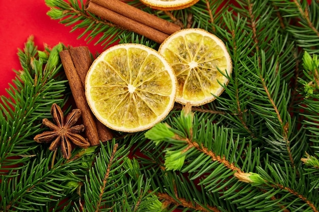 Christmas and new year composition with dry oranges, spices and fir tree branches