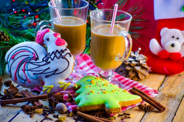 Christmas and new year festive gingerbread and cocoa