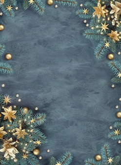 Christmas or new year flat lay background on dark textured board with copy-space