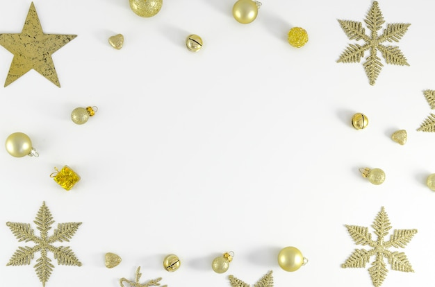 Christmas, new year frame composition copy space. holiday celebration concept postcard or