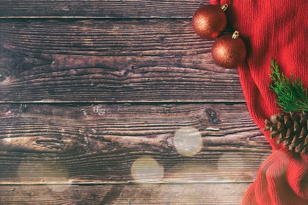 Christmas and new year gift boxes on woodden background.