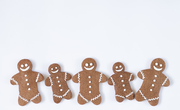 Christmas and new year gingerbread man isolated on white background. winter holidays sweets concept