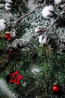 Christmas new year greeting card background with fir tree branches, moss, red balls and stars