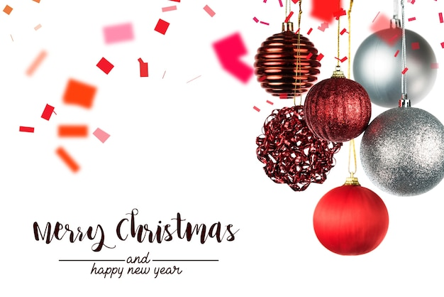 Christmas and new year greeting card with balls on white