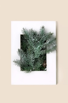 Christmas or new year greeting card with fir tree branches in white paper frame. beige background. flat lay, copy space