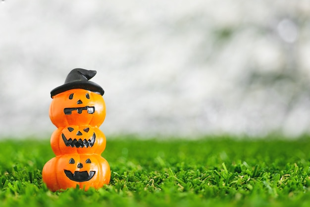 Christmas new year or halloween background on blurred bokeh snow background