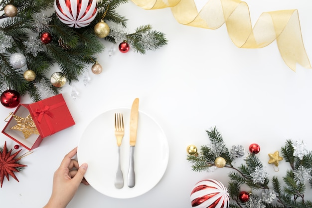 Christmas new year party table dinner background celebrate time