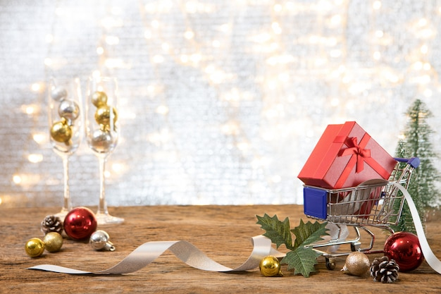 Christmas new year  party with gift present background celebrate time of happy spend money shopping