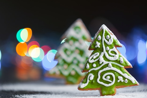 Christmas and new year's background. ginger biscuits.