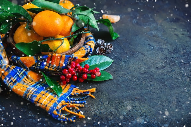 Christmas and new year's composition with fresh tangerines