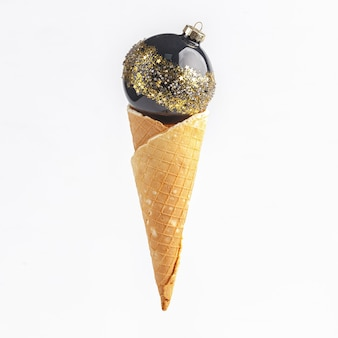 Christmas new year's eve composition. christmas decorations in waffle horns for ice cream