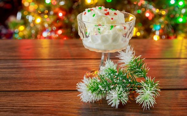 Christmas, new year's eve. looks at the ice cream.