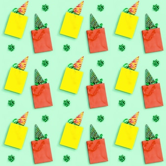 Christmas and new year seamless pattern with lollipops shaped like christmas tree