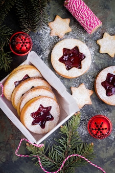Christmas or new year sweet present in box. traditional austrian christmas cookies