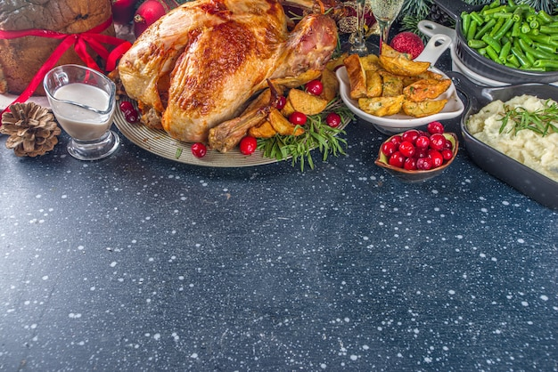 Christmas or new year turkey dinner with various ingredients