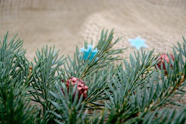 크리스마스, 새해, 크리스마스 트리의 가지가 있는 겨울 테두리, 텍스트를 위한 공간.