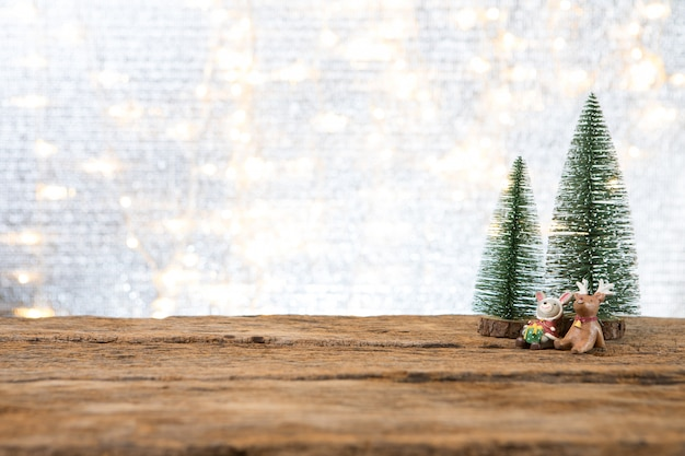 Christmas new year  with gift present pine tree background celebrate time of happy special occasion