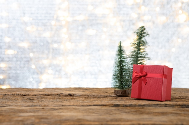 Christmas new year with gift present pine tree background
