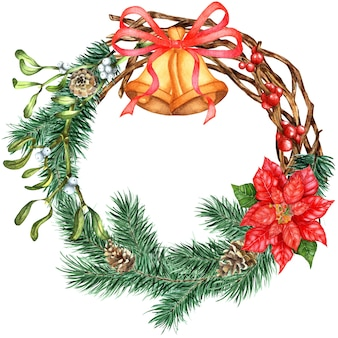 Christmas and new year wreath wreath of gossip of spruce pine branches mistletoe twigs cones