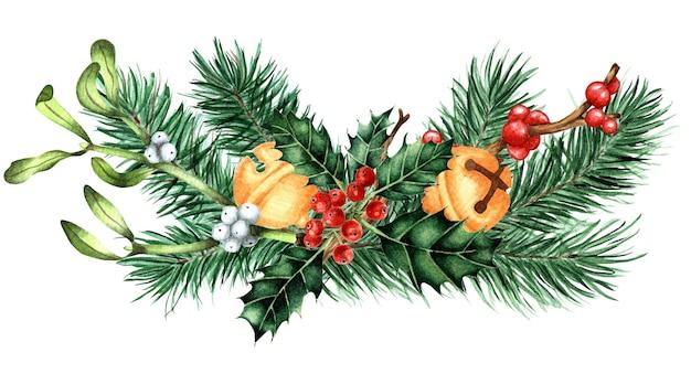 Рождество новогодний букет с еловыми ветками звенящие колокольчики падуб ilex омела праздничный