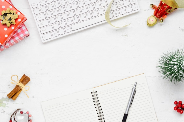 Christmas and new years office work space desktop flat lay