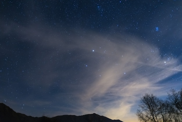 Christmas night on the alps under starry sky