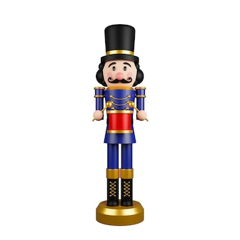 Christmas nutcracker toy soldier traditional figurine isolated on white background 3d rendering