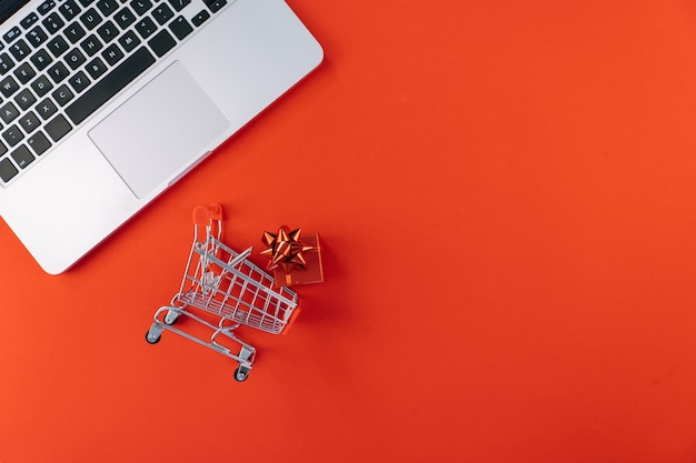 Christmas online shopping on laptop with credit card.