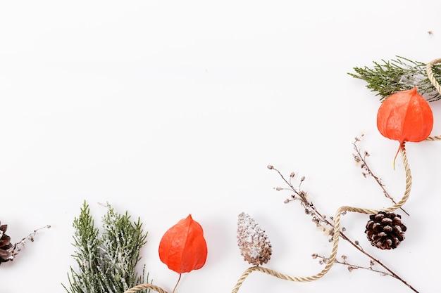 クリスマスまたは秋の作曲。 thujaの小枝、雪の中の錐体、サイサリス上面図、フラットレイ、コピースペース