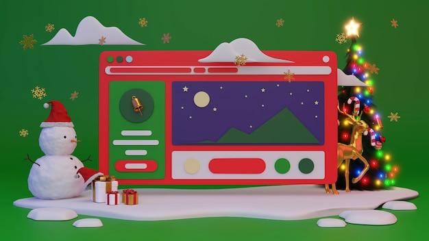 クリスマスや新年はウェブサイトの背景に表示されます。 3dレンダリング。