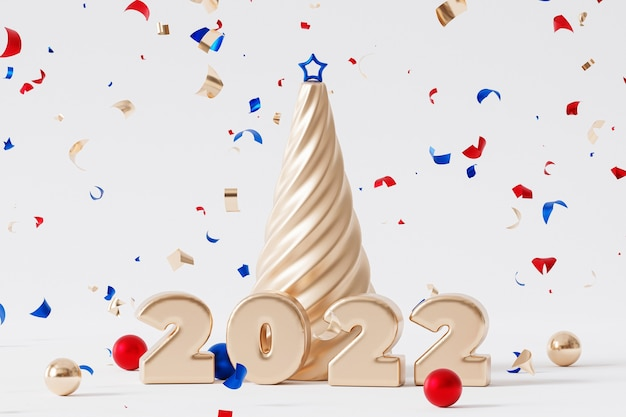 クリスマスまたは年末年始の背景、黄金の2022年の手紙、紙吹雪と星とモミの木、3dレンダリング