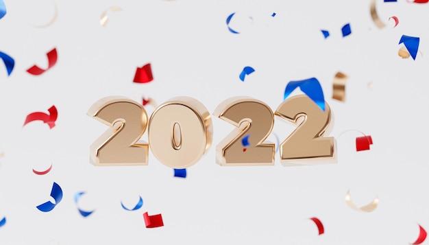 クリスマスまたは年末年始の背景、紙吹雪と黄金の2022年の手紙、3dレンダリング