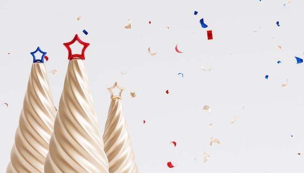 クリスマスや年末年始の背景、金色の紙吹雪、星とモミの木、3dレンダリング