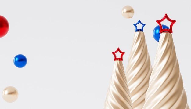 クリスマスや年末年始の背景、星と黄金のモミの木、3dレンダリング