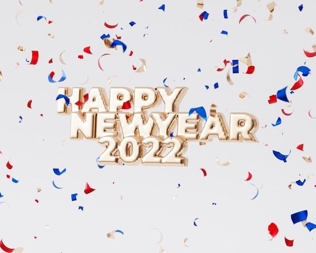 クリスマスまたは年末年始の背景、紙吹雪、3dレンダリングと黄金の幸せな2022年の手紙