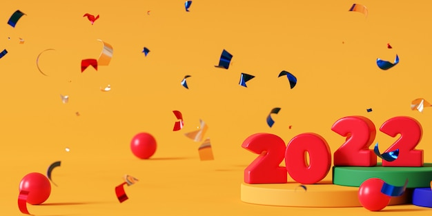 クリスマスまたは年末年始の背景、紙吹雪と赤の2022年の数字、3dレンダリング